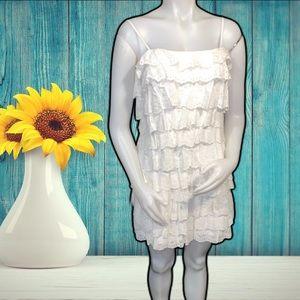 Calvin Klein White Layered Eyelet Lace Dress